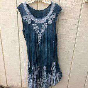 Tie-dyed Blue Sleeveless L Boho Dress